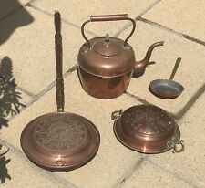 Collection Of Old Copper Items Kettle Bed Pan Bowl Egg Pan