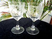 Set of 2 Clear High Quality Etched Crystal Cordial Glasses