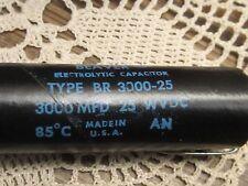 Cornell Dubilier BEAVER BR 3000-25 MFD 25WVDC 85C Capacitor 3000 MFD 25 VDC