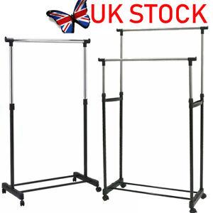 Garment Rack Single Double Silver&Black Adjustable Portable Clothes Rail Stand