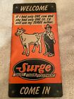Old SURGE MILKER DOOR PUSH Dairy Farm equiptment cow advertising tin tractor