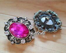 2pcs Antique Gold Fuchsia Pink Crystal Rhinestone Gem Bling Shank Sew on Button