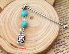 Stainless Steel Industrial Bar  Scaffold Turquoise Stone Serene Buddha Piercing