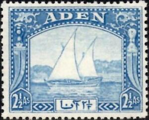 Aden 1937 KGVI  2.5a. Bright Blue   Dhow   SG.5  Mint (Hinged)