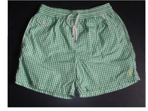 POLO RALPH LAUREN Check Gingham Swim Shorts Trunks Green White Size M