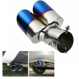 Blue Car Auto Rear Dual Exhaust Pipes Tail Muffler Tip Throat Tailpipe Car Parts