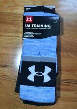 NEW 3-PAIR Men's Under Armour Training Crew socks (MED 4-8.5) Black/Blue/Gray