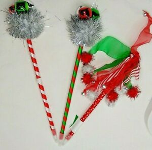3 Christmas Pens Jingle Bell Candy Cane Striped   New Bulk Packaged