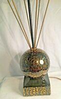 Mid Century Modern Atomic Table Lamp Black Gold Flake Ceramic Orb Brass
