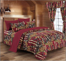 Burgundy The Woods Woodland Camo Twin Comforter-Free Ship