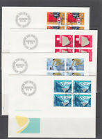 Switzerland Mi 1290/1303, 1985 issues, 3 complete sets in blocks of 4 on 9 FDCs