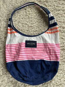 Abercrombie Juniors Striped Blue Pink White Orange Shoulder Bag Lightweight - 3