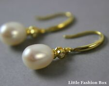Yellow Gold Plated 925 Sterling Silver Hook Earring with Freshwater Pearl UK New