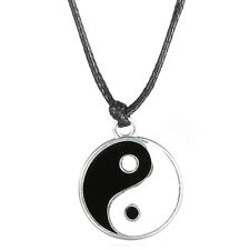New Silver Ying Yang Pendant Necklace Charm Black Leather Cord Man Women Gifts