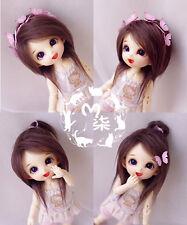 "New 5-6"" 14cm Dark Brown Fabric Fur Wig For AE PukiFee lati 1/8 Doll Antiskid"