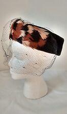 Vintage Black Velvet Feathers Pillbox Hat Made in France Zephyr Elizabeth