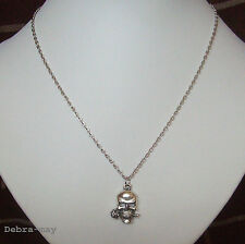 """Gothic Day of the Dead Skull and Rose Pendant 18"""" Chain Necklace"""