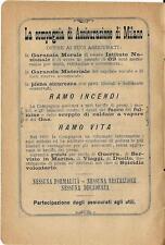 Stampa antica pubblicità ASSICURAZIONE di MILANO 1895 Old antique print