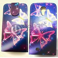 CASE FOR SAMSUNG GALAXY S4 BLUE PINK WHITE BUTTERFLY PU LEATHER FLIP PHONE COVER
