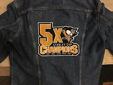 "PITTSBURGH PENGUINS PATCH 5X STANLEY CUP CHAMPIONS XLG APPAREL 8.75""X10.5"" CHAMP"