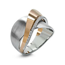 Unique Geometric CZ 925 Silver Two Tone Wedding Ring Engagement Party Jewelry