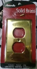 Amerelle polished SOLID BRASS double Switch Plate Wallplate Toggle  Outlet