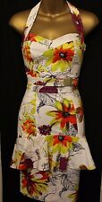 Karen Millen Floral Print Sweetheart Peplum Halter Neck Sleeveless Dress 6 34