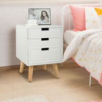 White Beside End Table Nightstand Table W/3 Storage Drawers Bedroom Furniture