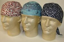Lot Set 3 Paisley Doo Rags Headwrap Denim Blue Leopard Durags Biker Pirate Cap