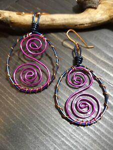 UNIQUE STYLISH MEDIUM DARK BLUE WIRE HOOP DESIGN/AMETHYST SCROLL/COPPER EARRINGS