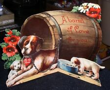 Antique Valentine Card Saint Bernard Dog w/Pups~Barrel Of Love For You! Germany