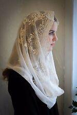 Evintage Veils~ Our Lady of Fatima Soft Ivory Lace Chapel Veil Mantilla