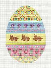 "Large ""Easter Egg with Bunnies"" handpainted Needlepoint Canvas by Labors of Love"