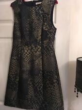 whistles navy blue and metallic animal print dress size 8