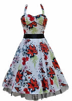 Vintage Retro 1940's 50's Orange Butterfly Floral Halterneck Tea Dress New 8-18
