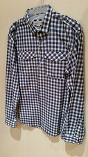River Island Mens Checked Casual Hipster Shirt Size M Worn Once Blue Check Top