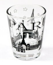 PARIS FRANCE BLACK LANDMARKS COLLAGE SHOT GLASS SHOTGLASS