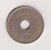Palestine 10 Mils Mil 1934 KM4 F Israel British Mandate Coin Key Date Original