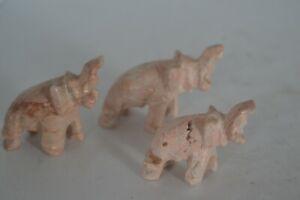 Vintage Carved Stone Elephant Family Lot Box2