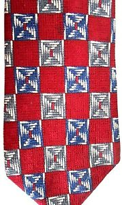 """Jos. A Bank Men's Silk Tie 59.5"""" X 4"""" Red w/ beige/blue/gray Geometrics"""