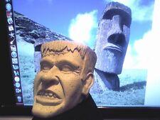 "Unusual Monster Frankenstein Bust 3.5"" x 4"" Unmarked Plastic Unpainted"
