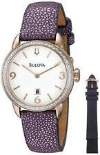 NWOT Bulova Women's 98R196 Diamonds Collection Purple Stingray Leather Watch