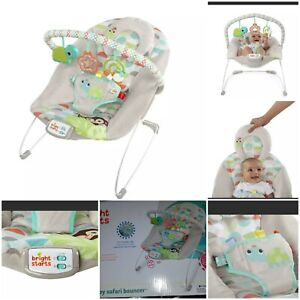 New Bright Starts Vibrating Bouncer Seat with Melodies - Happy Safari head rest