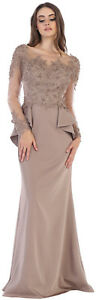 SALE! FORMAL GOWNS MOTHER of THE BRIDE GROOM LONG SLEEVE PLUS SIZE EVENING DRESS