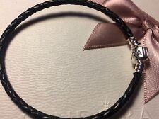 Pandora Pulsera de Cuero Negro Tamaño 20 cm trenzado