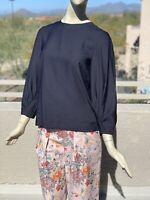 Tibi Washed Viscose Shirred Sleeve Top