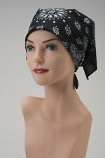 CHEMO Bandana Scarf  BLACK and WHITE Turban Hat Cap For Cancer Patient Headcover