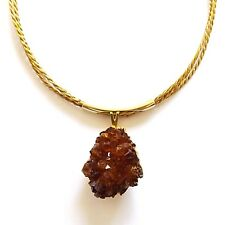 CAPIM GOLDEN GRASS BRAZILIAN NECKLACE RAW UNCUT REAL CITRINE CRYSTAL GOLD PLATED
