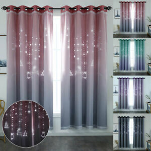 Blackout Curtains Double-Layer Voile Hollow-Out Christmas Kids Bedroom Drapes
