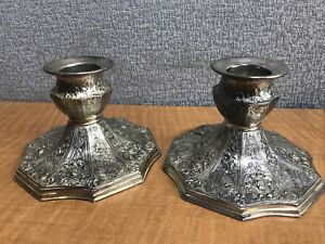 """Antique Barbour Silverplated Ornate Candle Stick Holders for WIDE 1 1/2"""" Candle"""